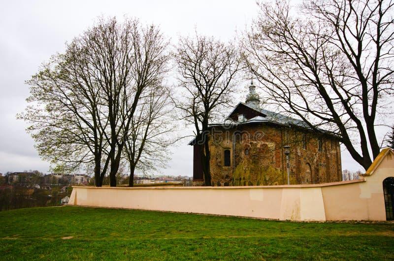Kościół St Boris, Gleba i Kalozhskaya w wiośnie, Grodno, Białoruś zdjęcie royalty free