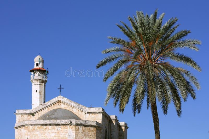 Kościół St. George w Lod i minarecie obraz royalty free