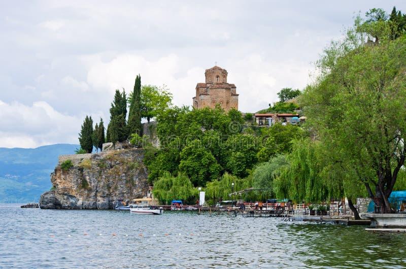 Kościół St John przy Kaneo, Ohrid -, Macedonia zdjęcia royalty free