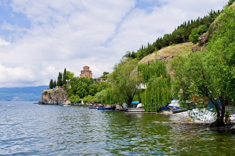 Kościół St John przy Kaneo, Ohrid -, Macedonia fotografia royalty free