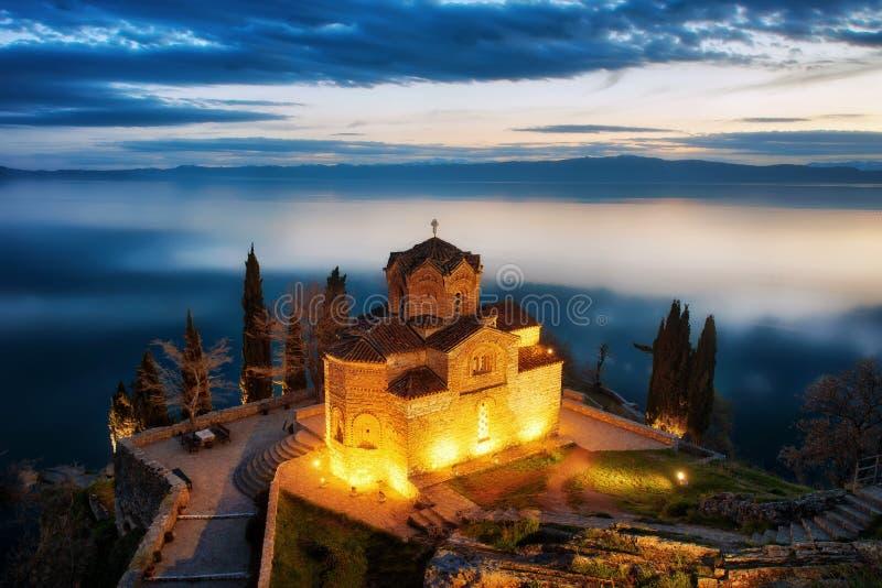 Kościół St John teolog przy Kaneo -, Ohrid, Macedonia obraz stock