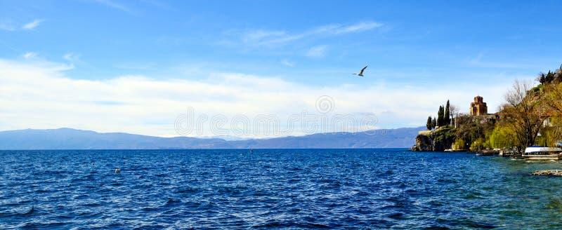 Kościół St Jovan Kaneo, Jeziorny Ohrid, Macedonia zdjęcie stock