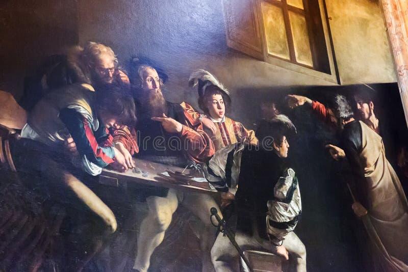 Kościół St Louis francuz z obrazami Caravaggio w Rzym, Włochy zdjęcia royalty free