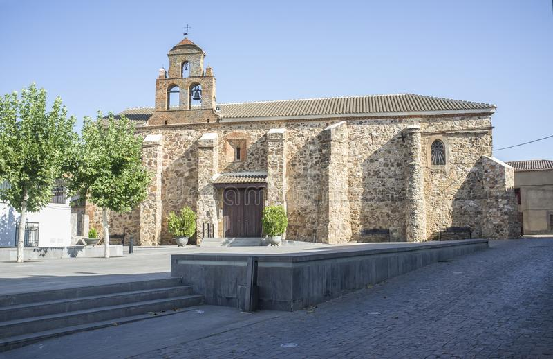 Kościół Sta Mª de Las Cruces, Saceruela, Ciudad Real obrazy stock