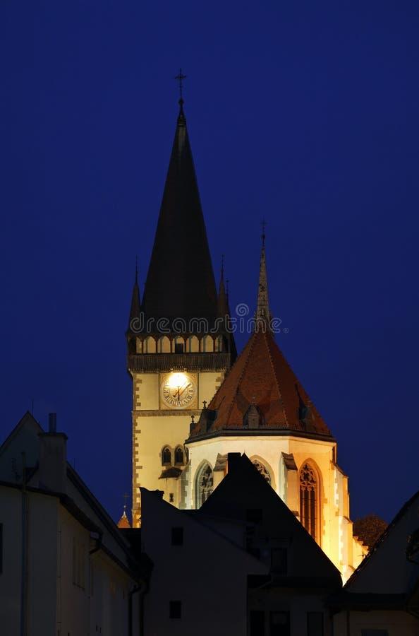 Kościół Sv Aegidius na urzędu miasta kwadracie w Bardejov Sistani obraz royalty free