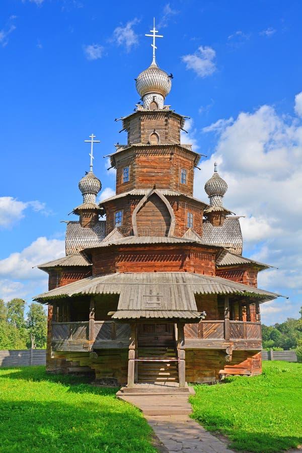 Kościół transfiguracja od wioski Kozlyatyevo xix wiek w muzeum drewniana architektura w Suzdal, Rosja zdjęcie stock