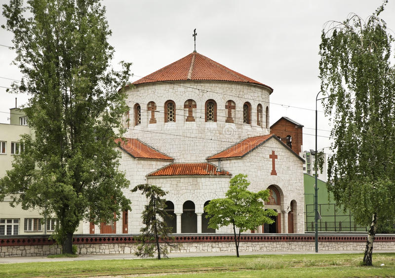 Kościół transfiguracja w Sarajevo zgadzający się terenu teren kartografuje ważny ścieżki ulga cieniącego stan otaczający terytori obrazy royalty free