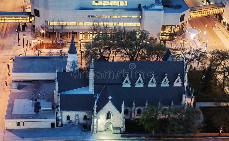 Kościół w śródmieściu Winnipeg fotografia stock