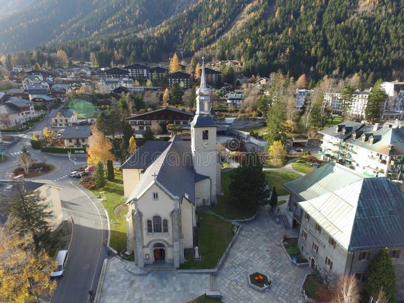 Kościół w Chamonix od above zdjęcie royalty free