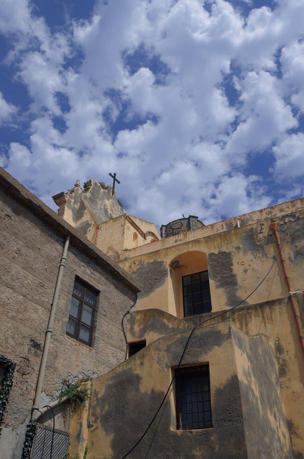 Kościół w Lipari, Eolowe wyspy, Sicily, Włochy obrazy stock