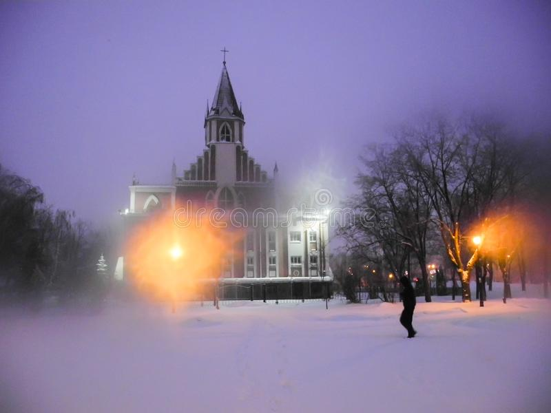 Kościół w parku w zimie podobieństwo tła instalacji krajobrazu nocy zdjęcia stołu piękna użycia obrazy royalty free