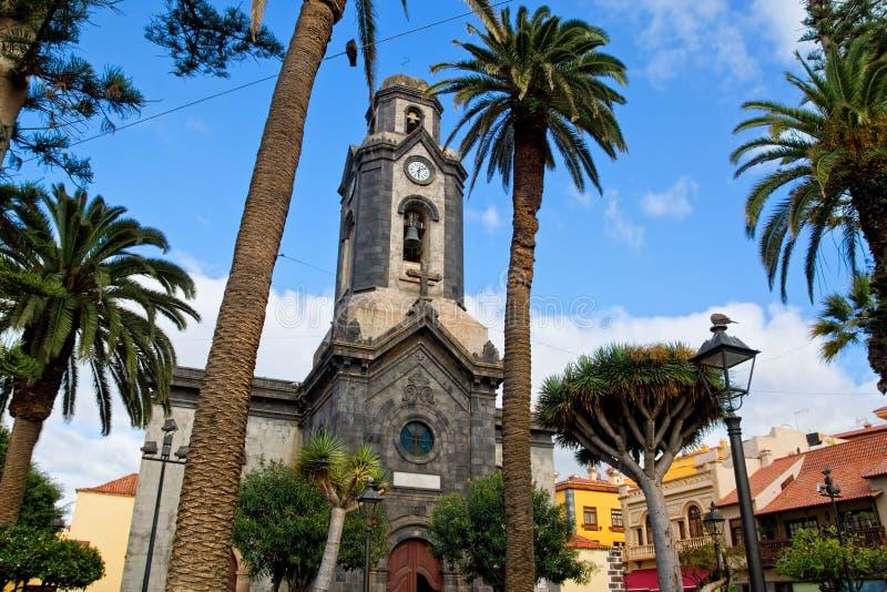 Kościół w Puerto De La Cruz miasteczku, Tenerife, wyspy kanaryjska obraz stock