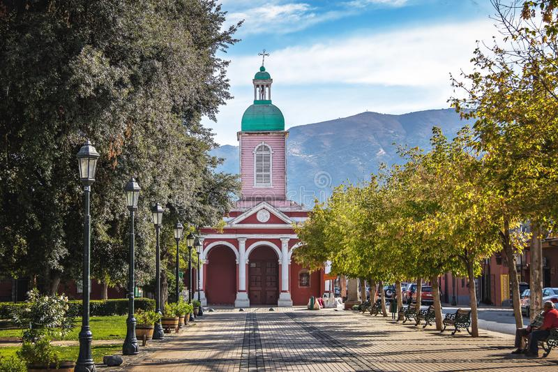 Kościół w San Jose De Maipo miasteczku przy Cajon Del Maipo, Chile - fotografia stock