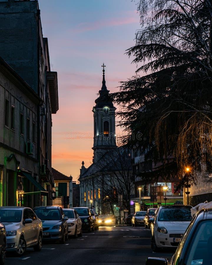 Kościół w starej części Belgrade, Zemun fotografia stock