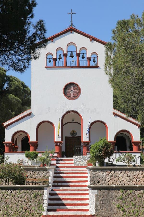 Kościół w wiosce Eleoussa, Rhodes zdjęcie royalty free