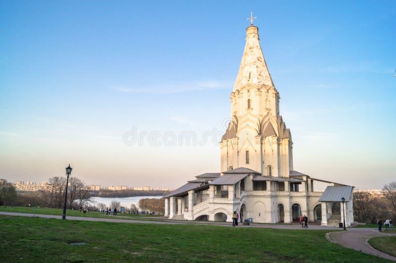 Kościół wniebowstąpienie, Kolomenskoye nieruchomości muzeum, Moskwa zdjęcia stock