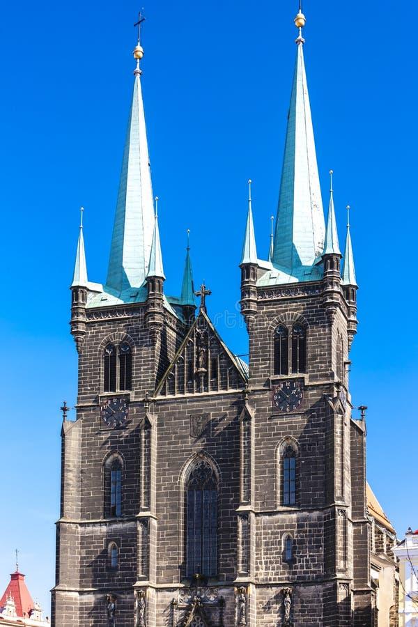 Kościół Wniebowzięcia Najświętszej Maryi Panny, Ressel& x27;& x27;s Square, Chrudim, Republika Czeska obrazy royalty free