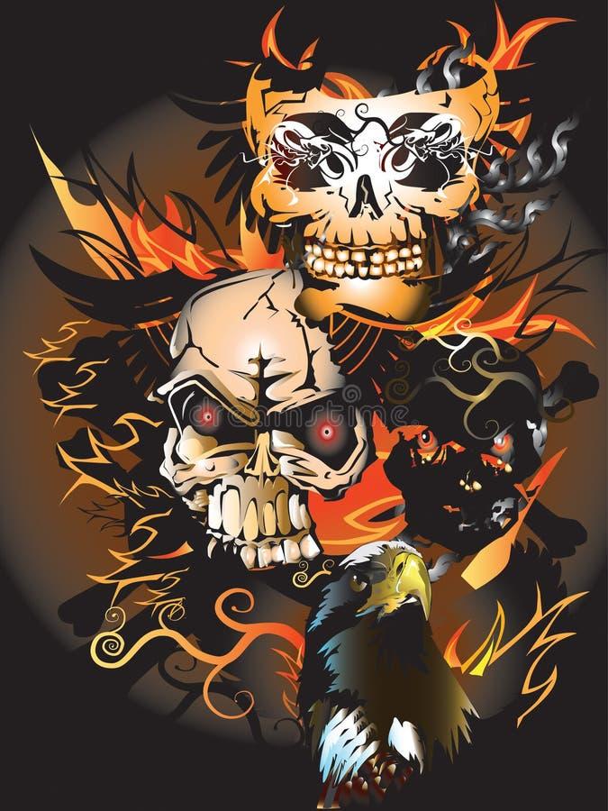 Kości czaszki ogienia orzeł royalty ilustracja