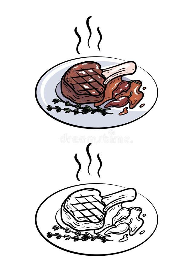 kości wieprzowina kotlecik Wektorowa ilustracja na bielu ilustracja wektor