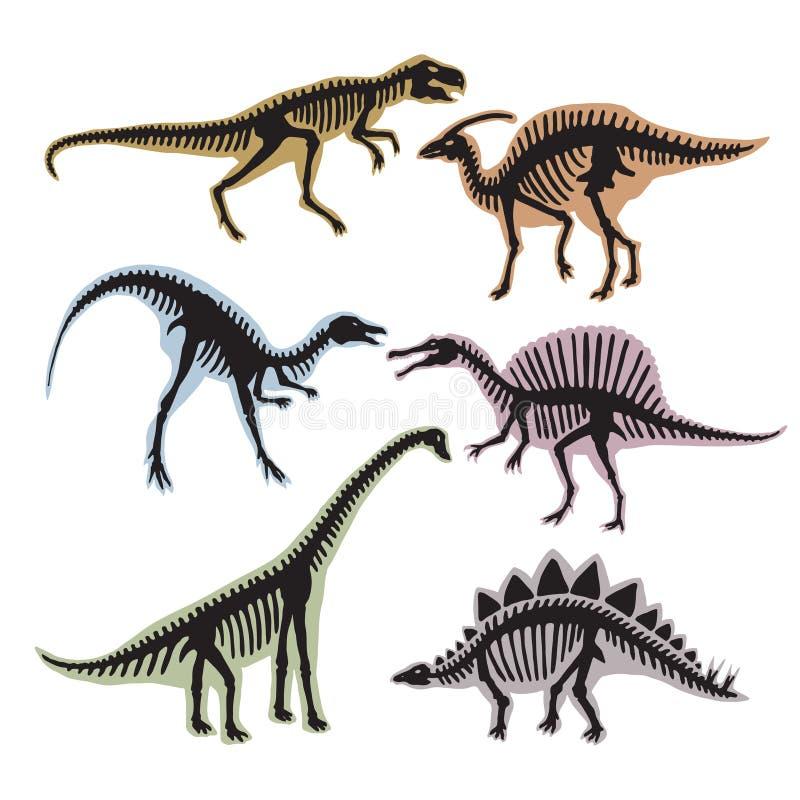 Kościec dinosaury Wektorowa sylwetka tyrannosaurus, diplodokus i inny, dzikie zwierzęta royalty ilustracja