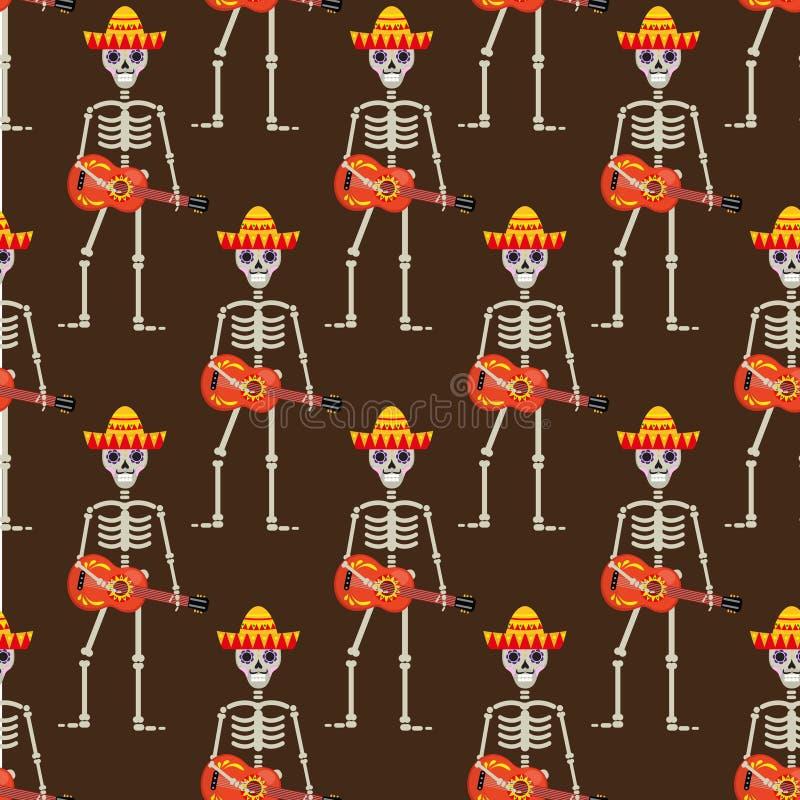 Kościec w sambrero gitary bezszwowym wzorze Czaszki Meksykańska wielostrzałowa tekstura Dzień nieboszczyk lub Halloween Niekończą royalty ilustracja