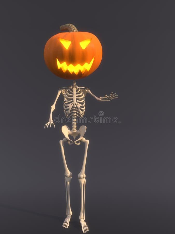 Kościec z bani głową dla Halloween obrazy stock
