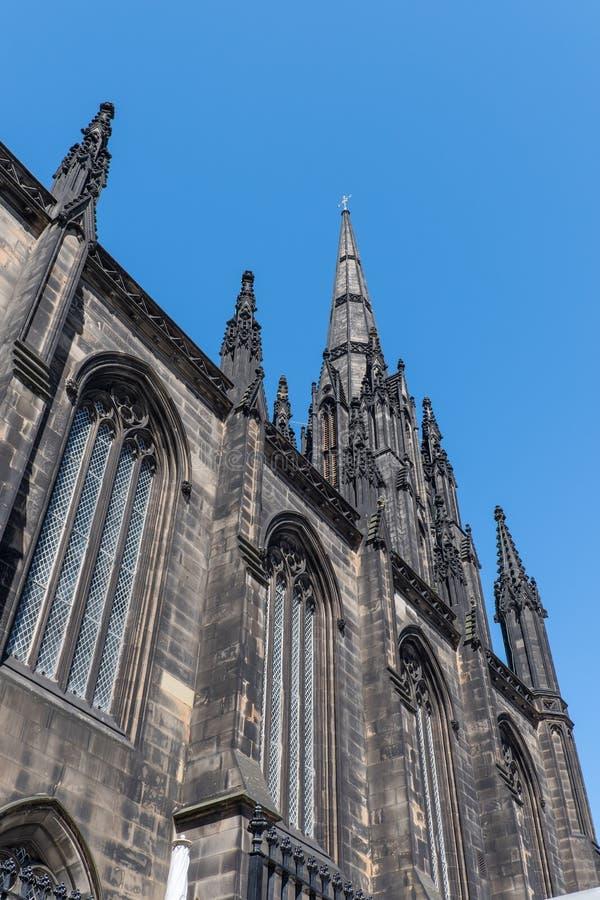 Kościelna iglica, Stary miasteczko, Edynburg miasto, Szkocja fotografia royalty free