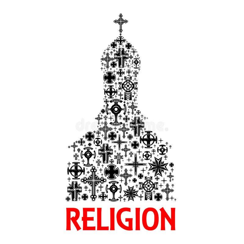 Kościelna ikona Religii chrześcijaństwa przecinający symbole ilustracji