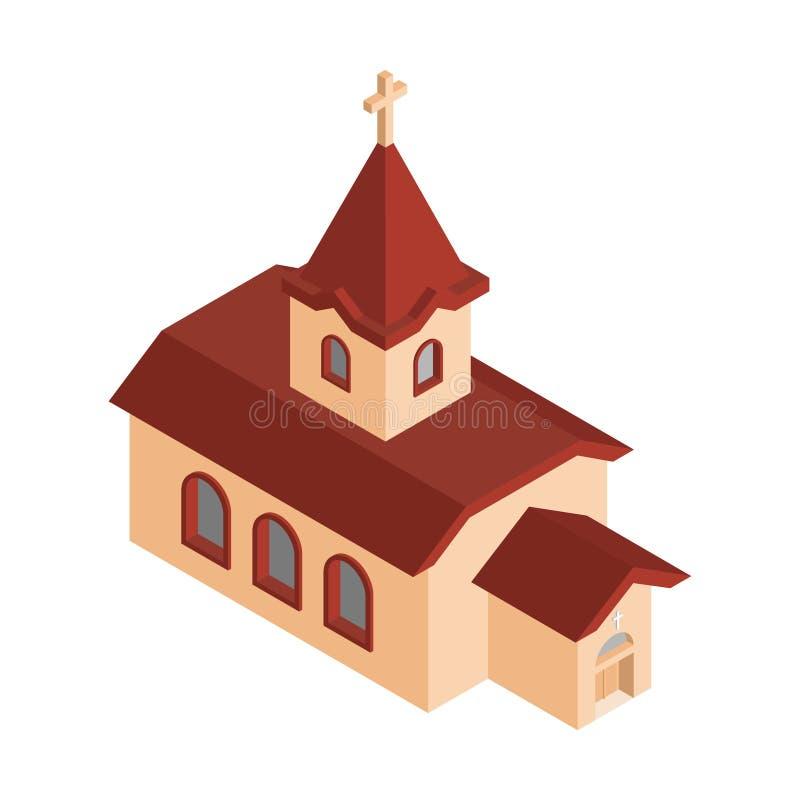 Kościelna Isometrics chrześcijanina domu Katolicka religia Wektorowy illu ilustracja wektor