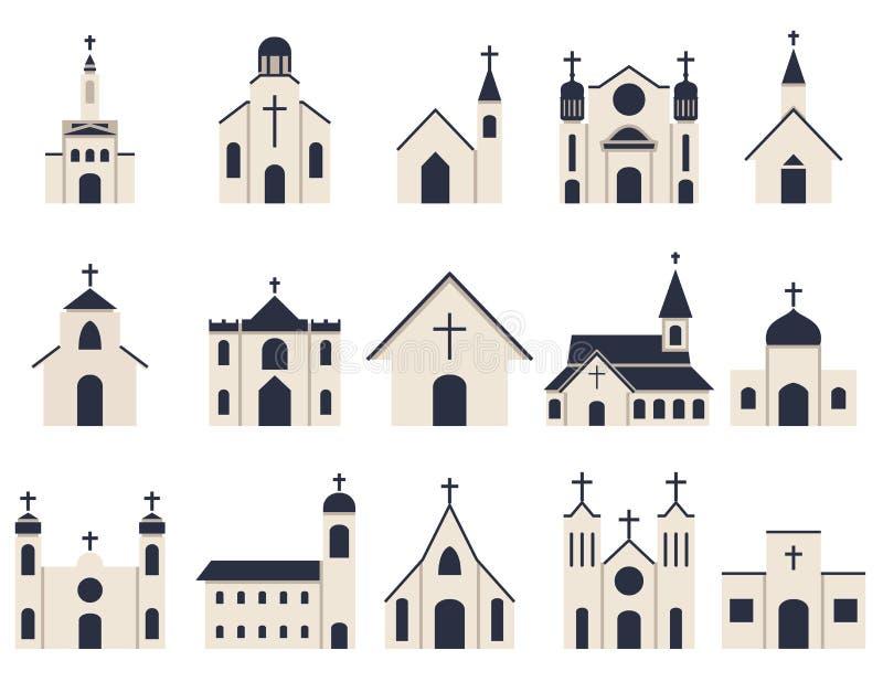 Kościelnego budynku ikony wektor ilustracja wektor