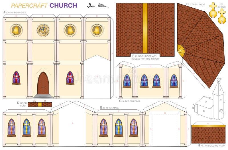 Kościelnego budynku Papierowego rzemiosła szablon ilustracji