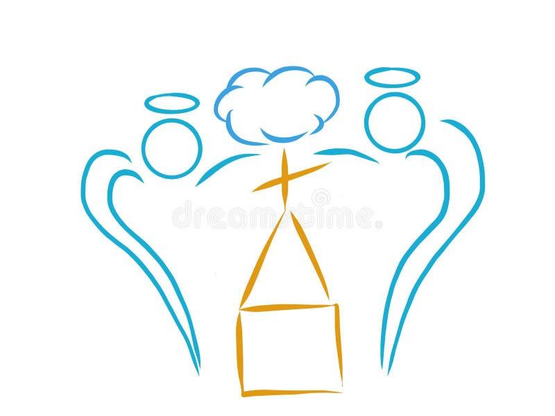 Kościelnego loga abstrakcjonistyczny artystyczny rysunek ilustracja wektor