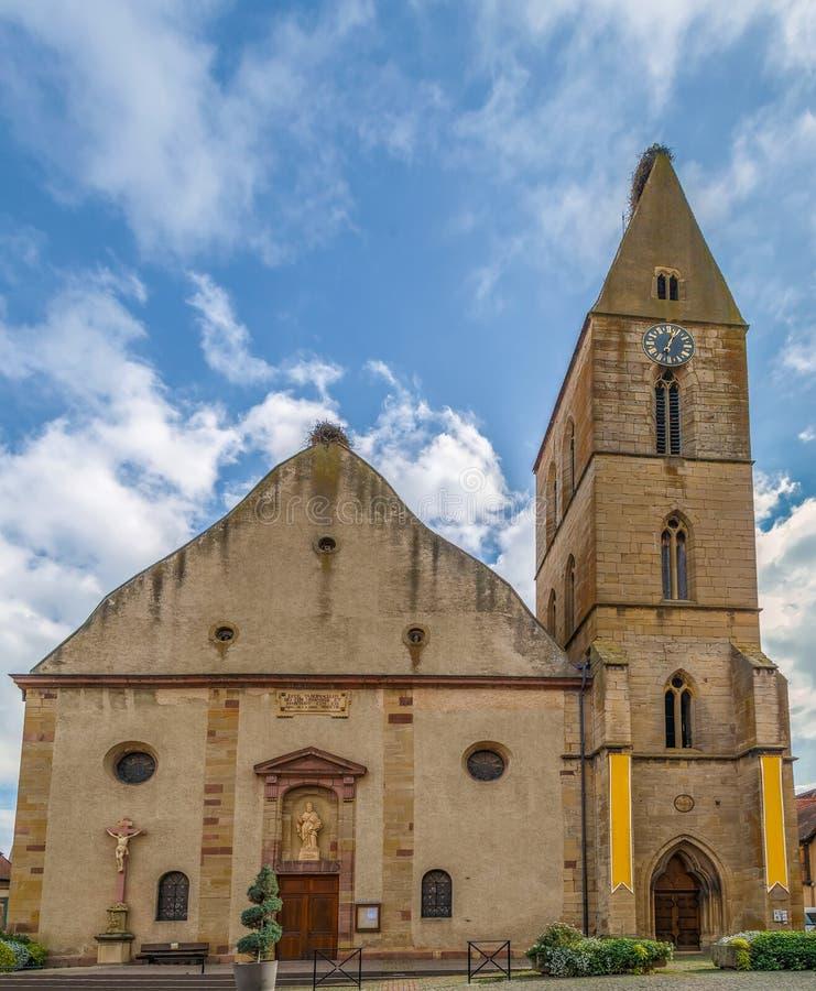 Kościelni święty Peter i Paul, Eguisheim, Francja zdjęcia royalty free