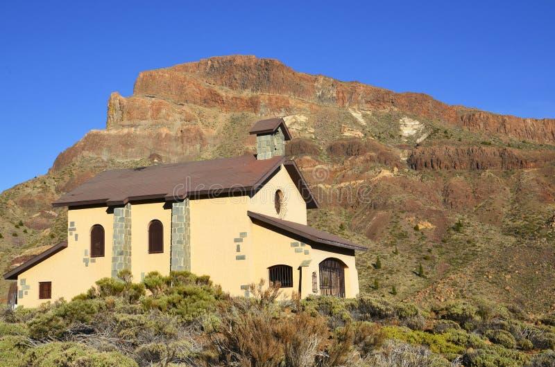 Kościelni Ermita De Nuestra Senora de lasy Nieves w Teide parku narodowym, Tenerife, wyspy kanaryjska, Hiszpania obrazy royalty free