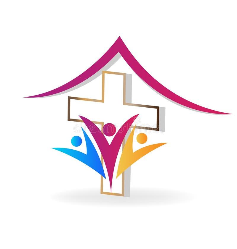 Kościelni rodzinni ludzie wektor ikony ilustracji