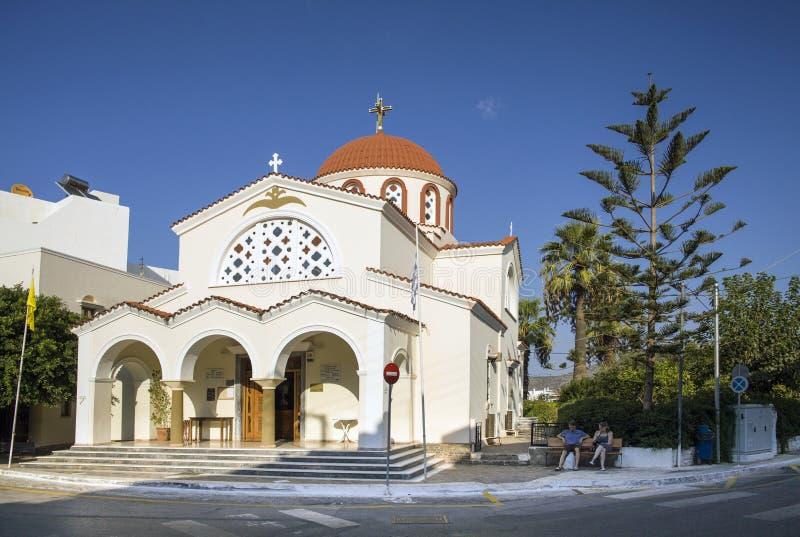 Kościelni Saints Constantine i Helen w Elounda, Crete, Grecja fotografia royalty free