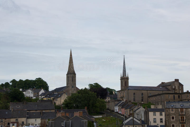 Kościelni steeples w Nowym Ross Co Wexford fotografia royalty free