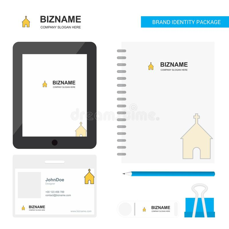 Kościelny Biznesowy logo, PVC pracownika karta i USB gatunek pakunku projekta wektoru Stacjonarny szablon, zakładki App, dziennic ilustracji