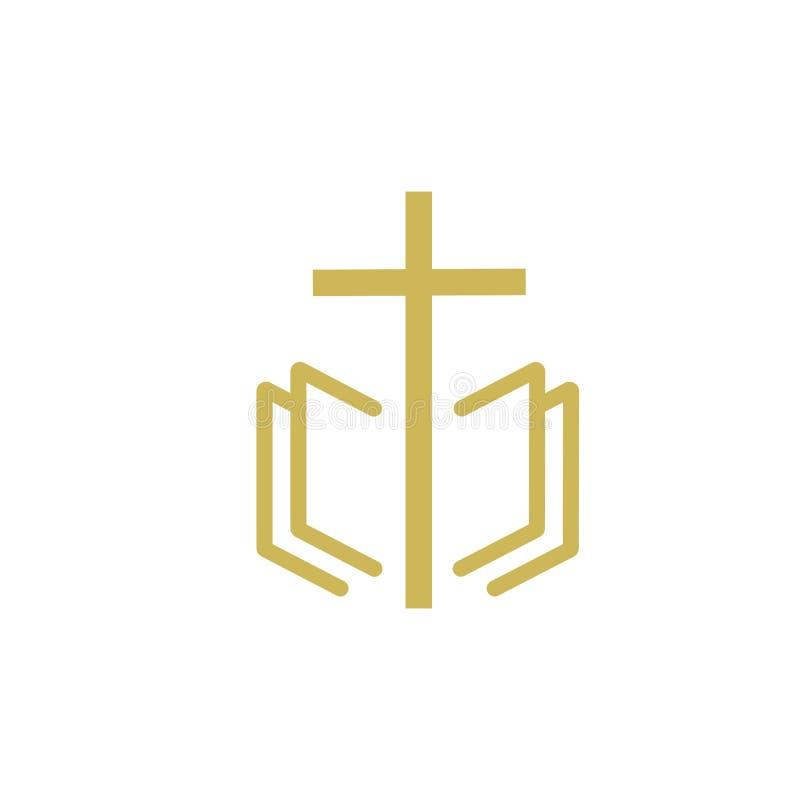 kościelny chrześcijański kreskowej sztuki logo projekt, Chrześcijańscy symbole ilustracja wektor