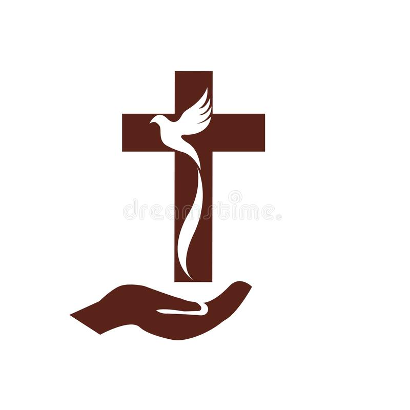 kościelny chrześcijański kreskowej sztuki logo projekt, Chrześcijańscy symbole royalty ilustracja