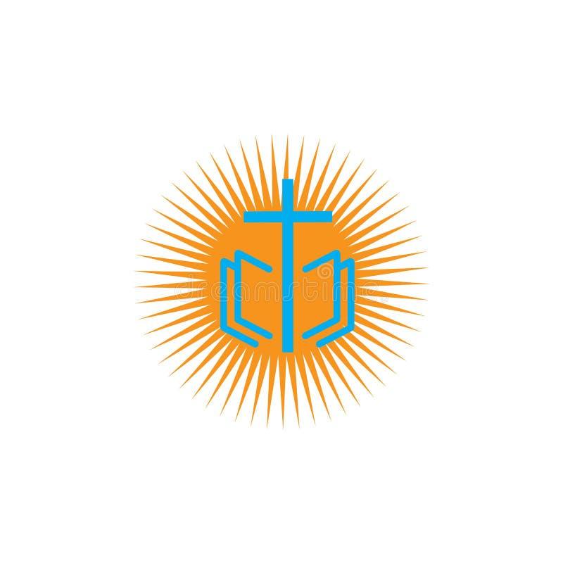 kościelny chrześcijański kreskowej sztuki logo projekt, Chrześcijańscy symbole ilustracji