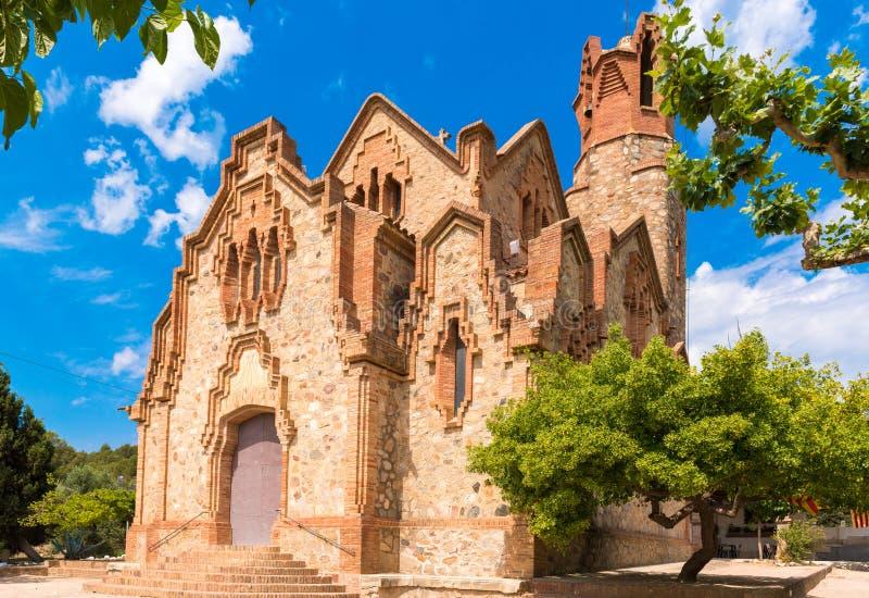Kościelny Ermita Klacz De Deu de los angeles Riera w Les Borges Del Obozujący, Tarragona, Catalunya, Hiszpania Odbitkowa przestrz zdjęcia royalty free