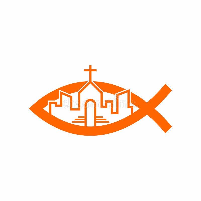 Kościelny logo Święty kościół w mieście royalty ilustracja