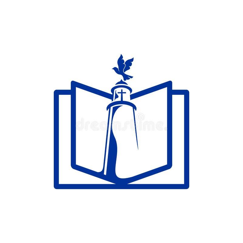 Kościelny logo Bóg ` s latarnia morska i Święty święte pisma royalty ilustracja