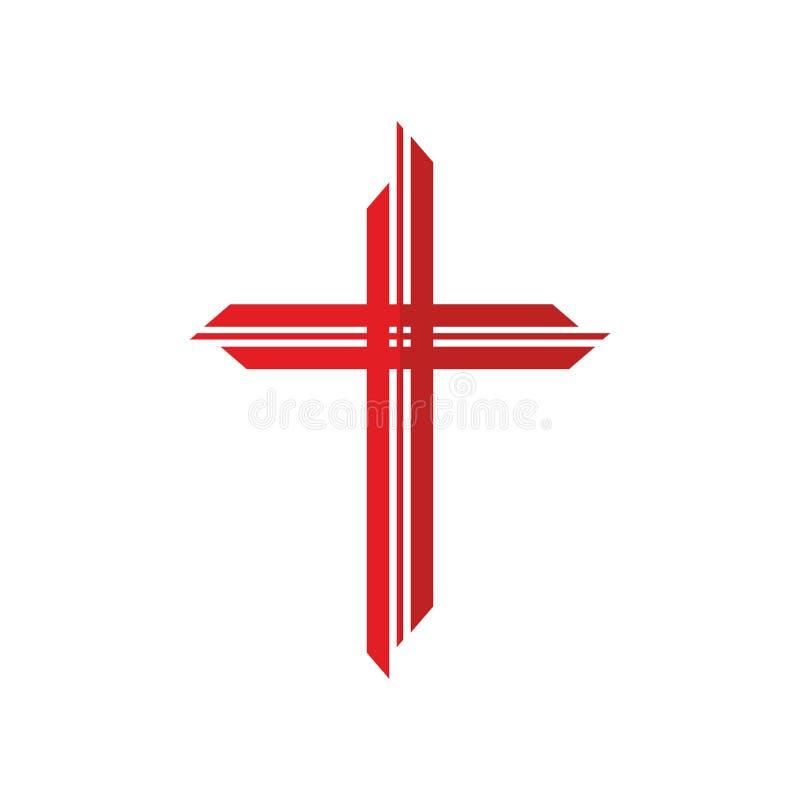 Kościelny logo Biblijny symbol krzyżuje czerwień ilustracja wektor