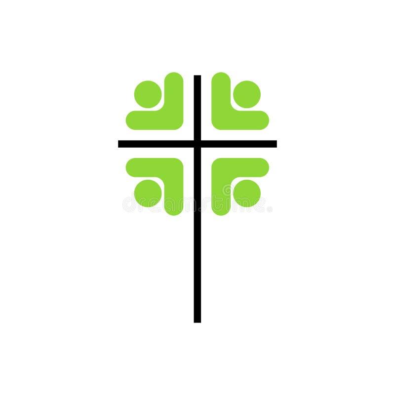Kościelny logo Chrześcijańscy symbole Ludzie wokoło krzyża royalty ilustracja