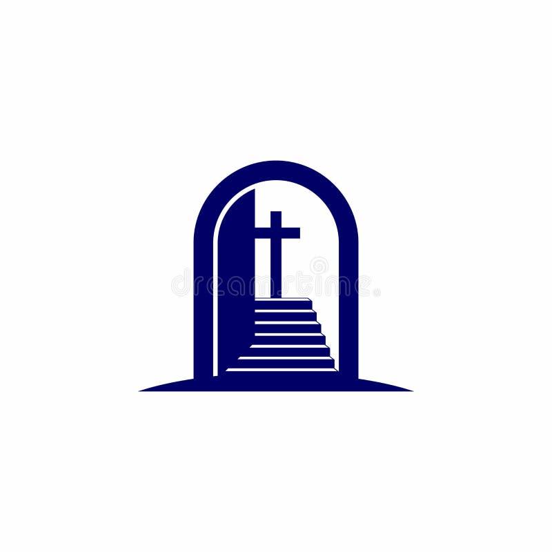 Kościelny logo Chrześcijańscy symbole Otwiera drzwi i schody prowadzi krzyż jezus chrystus władyki i wybawiciela ilustracja wektor