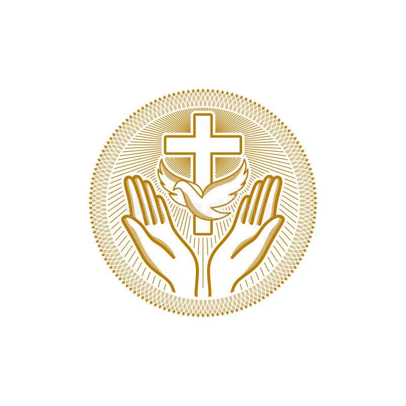 Kościelny logo Chrześcijańscy symbole Symbol Święty duch jest gołąbką krzyżem jezus chrystus i modleń rękami, pod royalty ilustracja