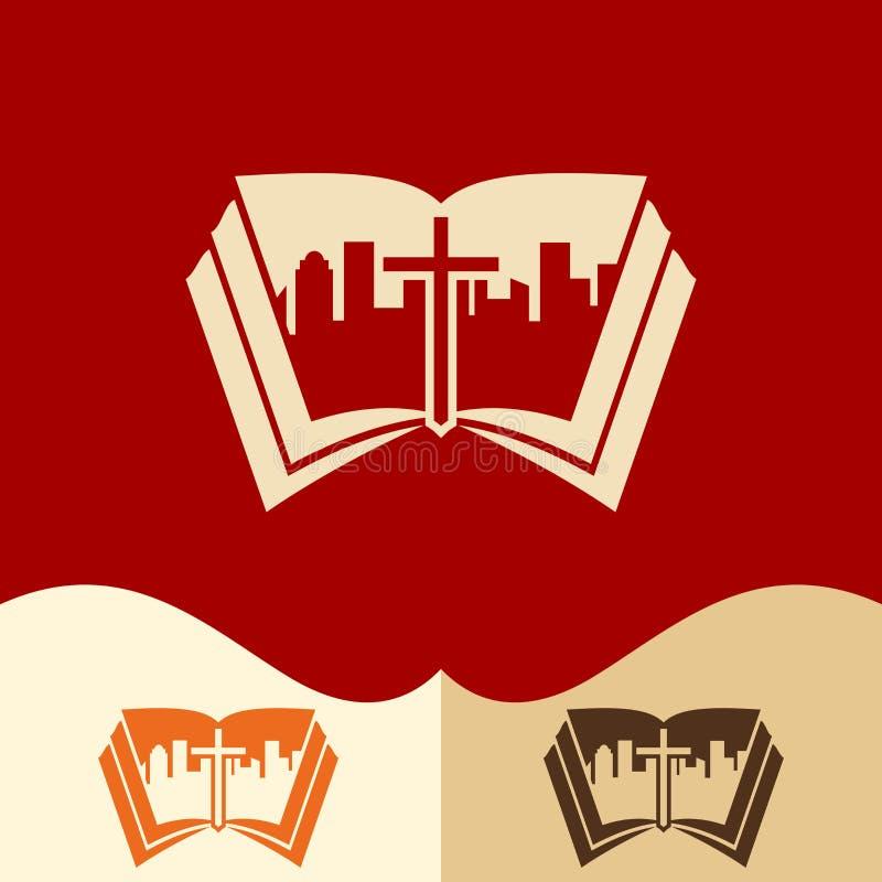 Kościelny logo Cristian symbole Kościół jezus chrystus po środku miasta royalty ilustracja