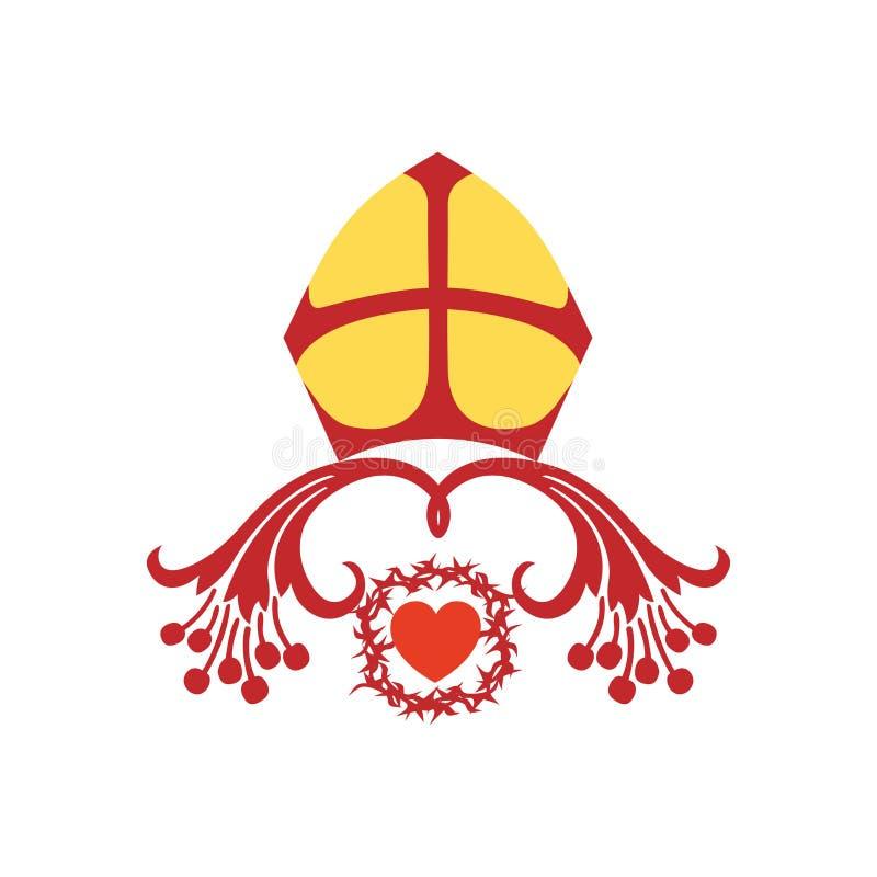 Kościelny logo Krzyż Jezus, korona ciernie i headpiece ilustracja wektor